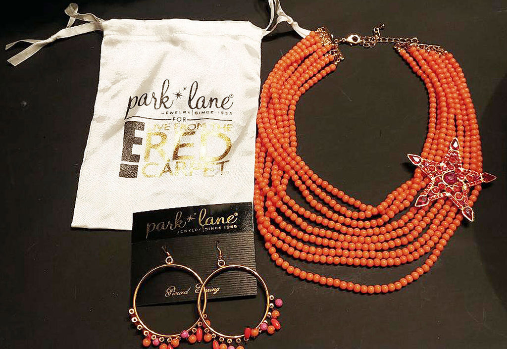 NEW OLD STOCK -  GORGEOUS PARK LANE TANGERINE & HOT PINK RHINESTONE MULTI-STRAND NECKLACE & MATCHING BEADED EARRINGS