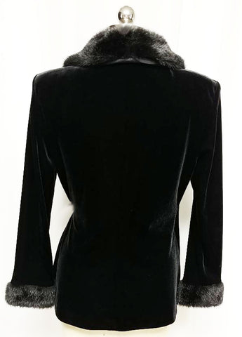VINTAGE PATRA FAUX FUR VELVETY BLACK  EVENING JACKET WITH RHINESTONE SATIN TIES - PERFECT OVER EVENING GOWNS, COCKTAIL DRESSES OR WITH JEANS