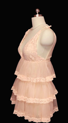 VINTAGE LACE & SHEER NYLON BABY DOLL GRAND SWEEP SHORTY NIGHTGOWN WITH ADORABLE TIERED FLOUNCES - NEARLY 17 FEET IN CIRCUMFERENCE