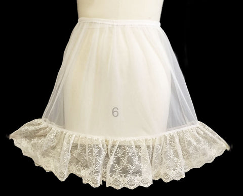 GLAMOROUS VINTAGE PEACHES 'N CREAM WHITE SHEER HALF SLIP WITH HUGE SCALLOPED ECRU LACE FLOUNCE - MADE IN THE U.S.A.