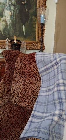 "NEW - LUXURIOUS PEACOCK ALLEY 51"" X 71"" COTTON & RAYON PLAID THROW"