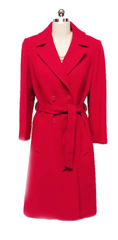 VINTAGE PENDLETON VIRGIN WOOL TRENCH COAT- LOOK COAT MADE IN THE U.S.A. IN LIPSTICK RED