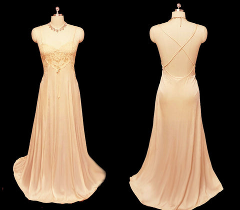 VINTAGE PETRA LACE BODICE NIGHTGOWN WITH A BEAUTIFUL CRISS-CROSS BACK NIGHTGOWN IN GOLD RUSH - LARGE