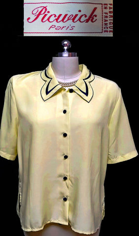 VINTAGE PICWICK PARIS BLOUSE IN BUTTERCUP AND NAVY EMBROIDERED TRIM - LARGER SIZE