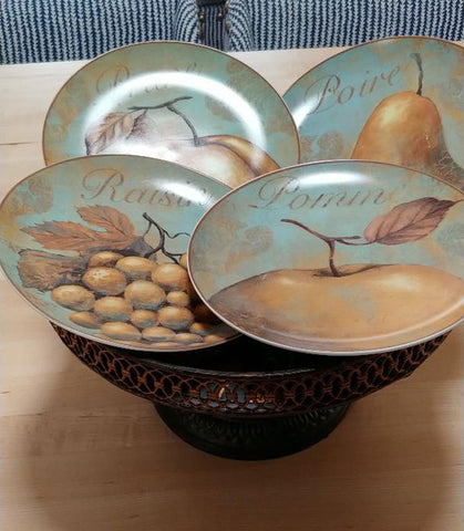 NEW OLD STOCK - OLD WORLD LOOK DESIGN PORCELAIN SALAD PLATES (4)  - JUST GORGEOUS!