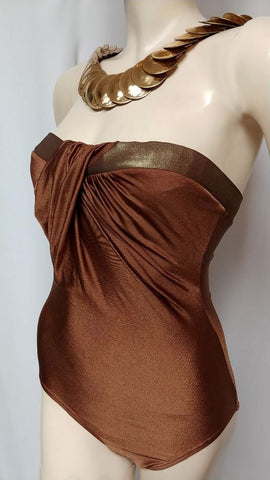 GLAMOROUS SOPHISTICATED LOOK VINTAGE PIERRE CARDIN STRAPLESS SPANDEX SWIMSUIT IN BRONZE MADE IN HONG KONG