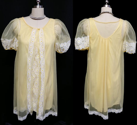 VINTAGE PILLOWTEX DAISY NIGHTGOWN & PEIGNOIR SET IN LEMON MERINGUE