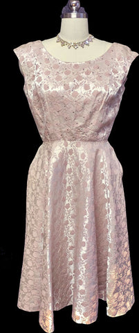 VINTAGE JERRY GILDEN SPARKLING RHINESTONE BROCADE COCKTAIL DRESS WITH METAL ZIPPER