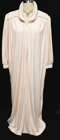 VINTAGE PRE-OWNED DIAMOND TEA VELOUR ZIP UP DRESSING GOWN ROBE IN TEA ROSE - SIZE MEDIUM