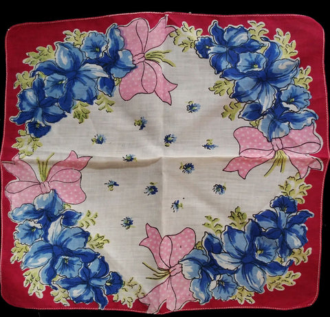 VINTAGE '50s/ '60s PINK DOTTED BOWS & BLUE ORCHIDS HANDKERCHIEF