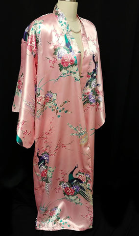 NEW WITH TAG - VINTAGE ORIENTAL ASIAN PEACOCK & CHERRY BLOSSOMS SILKY ROSE KIMONO PEIGNOIR WITH HUGE SLEEVES FROM JAPAN
