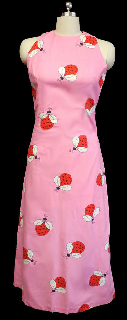 VINTAGE 60s ADORABLE LADY BUG DRESS WITH METAL ZIPPER