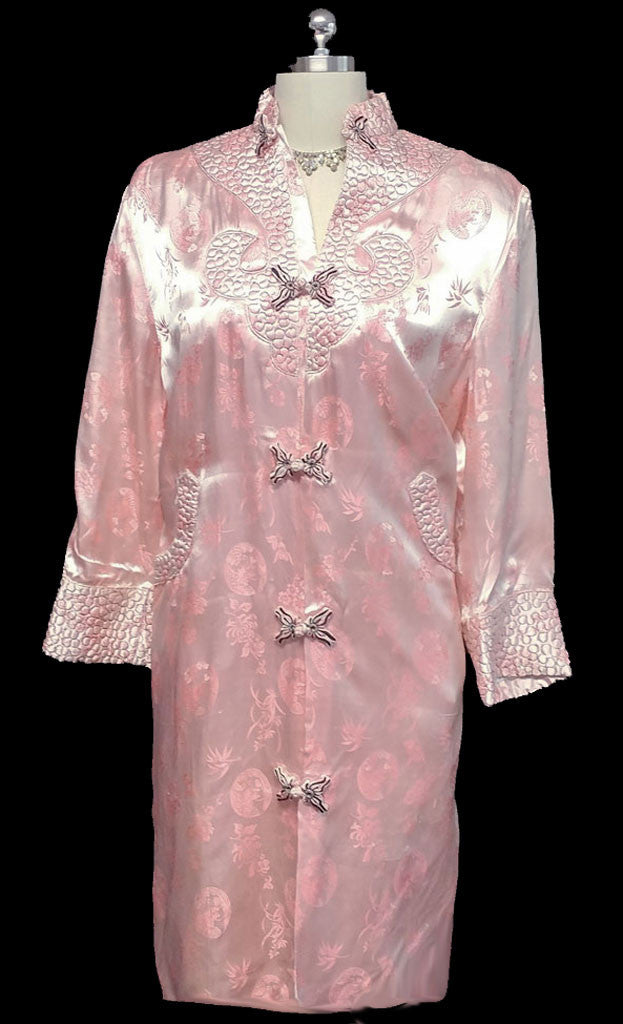 Vintage Oriental Asian Pink Satin Quilted Robe From Hong Kong Vintage Clothing Fashions Midnight Glamour
