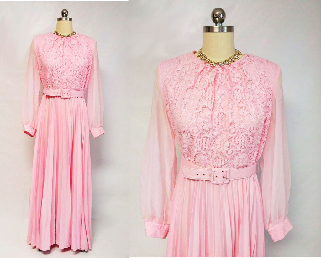VINTAGE '60s LACE PLEATED EVENING GOWN IN PINK BUTTERCREAM