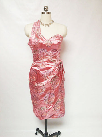 VINTAGE BOMBSHELL SARONG SATIN BROCADE DRESS WITH MATCHING BOLERO JACKET IN MAI TAI PINK