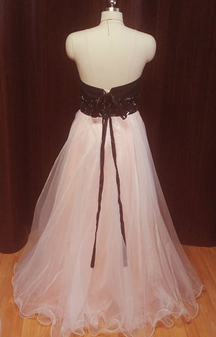 "FROM MY OWN PERSONAL COLLECTION - GLAMOROUS 5 LAYER PINK ORGANZA AND BLACK EVENING GOWN ENCRUSTED WITH ""JEWELS""  - NEW & NEVER WORN"