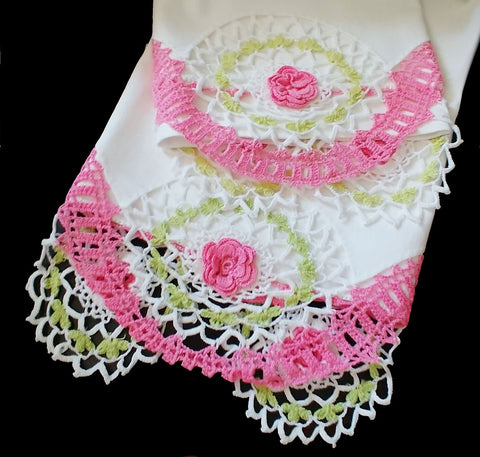 GORGEOUS VINTAGE HEIRLOOM HAND CROCHETED SWIRLS & ROSES - 1 PAIR - RARELY USED