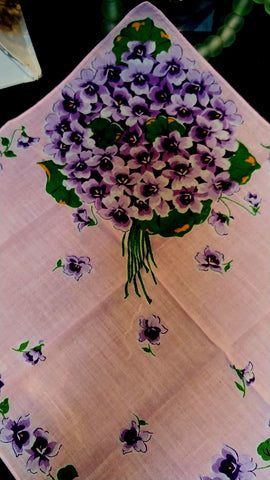 VINTAGE BOUQUET OF VIOLETS  ON PINK HANDKERCHIEF - SO DAINTY & FEMININE!