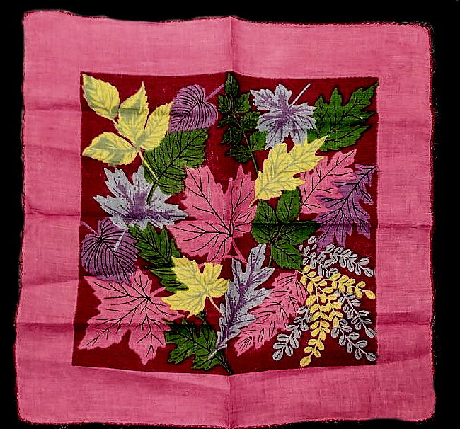 LARGE VINTAGE COLORFUL LEAVES HANDKERCHIEF IN GORGEOUS COLORS