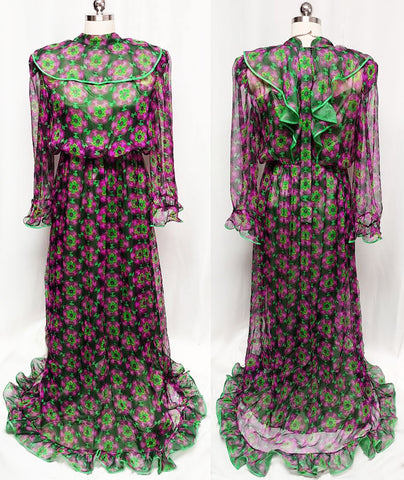 VINTAGE 60's / 70's PLACE VENDOME PARIS HAUTE COUTURE SHEER SILK GARDEN PARTY TEA DRESS IN MOSS & MULBERRY
