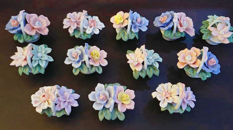 VINTAGE SET OF 12 BONE CHINA FLORAL PLACE CARD HOLDERS FOR BRIDAL SHOWERS, DECORATIONS, VINTAGE TEA PARTY, BABY SHOWER