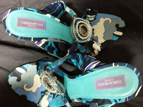 BEAUTIFUL EMILIO PUCCI FAMOUS COLORS OF TURQUOISE & PURPLE SATIN HEELS / MULES WITH SPARKLING RHINESTONES & SIGNATURE