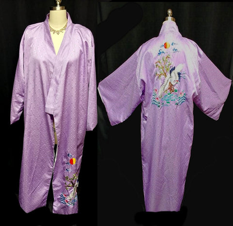 VINTAGE HEAVILY EMBROIDERED JAPANESE CRANES, FLOWERS & RIVERS PURPLE SILKY KIMONO ROBE