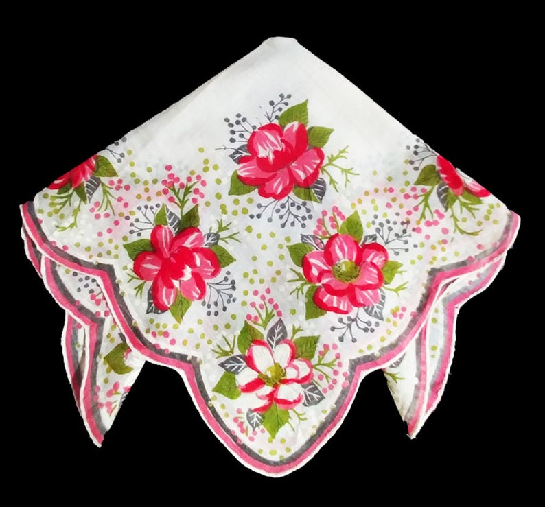 BEAUTIFUL VINTAGE PINK AND GREEN FLORAL AND LEAF HANDKERCHIEF