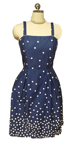 VINTAGE LATE 80s / 90s R & K ORIGINALS NAVY & WHITE DOT SUN DRESS