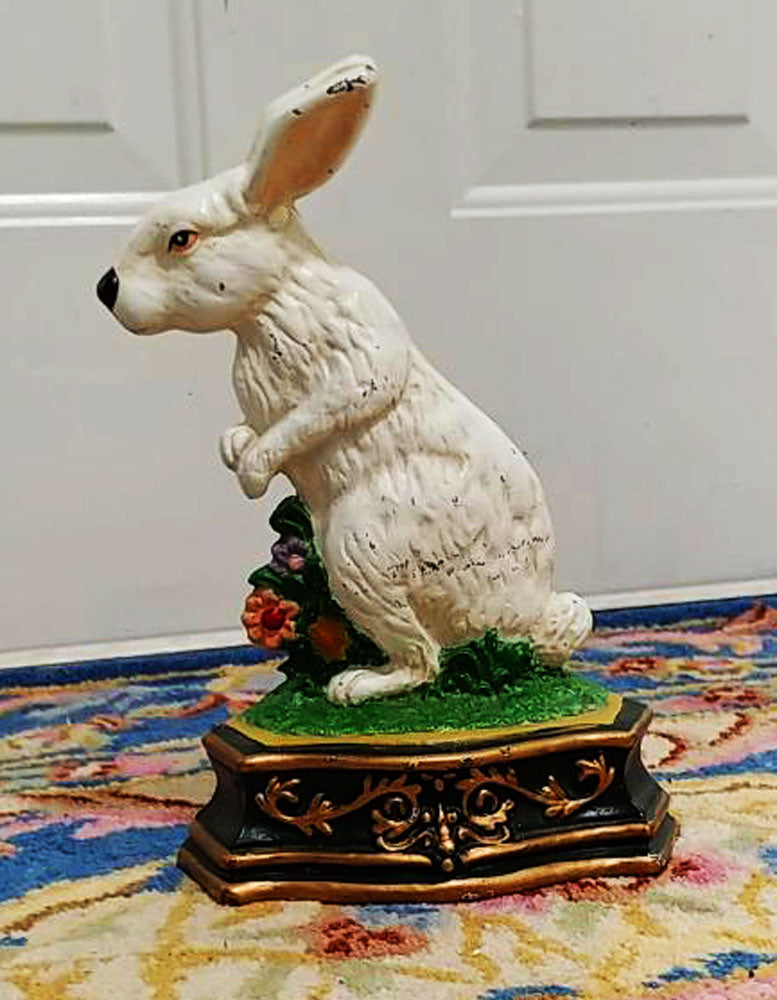 VINTAGE CAST IRON BUNNY RABBIT WITH FLOWERS DOOR STOPPER