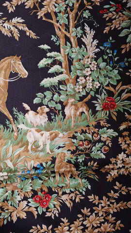 RALPH LAUREN AINSWORTH ONYX FABRIC REMNANT EQUESTRIAN HUNT SCENE HOUNDS FOX HUNT FABRIC REMNANT FOR PILLOWS, UPHOLTERING CHAIR SEATS, DECORATOR PROJECTS - #1