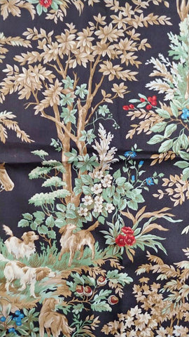 RALPH LAUREN AINSWORTH ONYX FABRIC REMNANT EQUESTRIAN HUNT SCENE HOUNDS FOX HUNT FABRIC REMNANT FOR PILLOWS, UPHOLTERING CHAIR SEATS, DECORATOR PROJECTS- #3