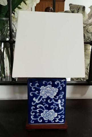 RALPH LAUREN BLUE & WHITE PORCELAIN MANDARIN FLORAL TABLE LAMP