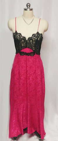 VINTAGE GLAMOUR BLACK EYELASH LACE FISHTAIL JACQUARD NIGHTGOWN IN RASPBERRY