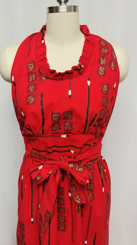 VINTAGE CHINESE BRUSH PAINTING AND SIGNS BACKLESS HALTER WRAP DRESS - FABULOUS!