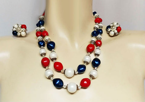 VINTAGE CRYSTAL & RED, WHITE & BLUE BEADS NECKLACE - PERFECT FOR 4TH OF JULY!