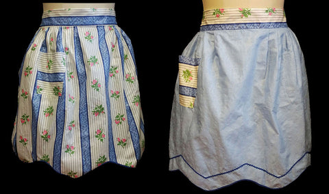 VINTAGE REVERSIBLE 2 or 3 in 1 POLISHED COTTON APRON SPRINKLED WITH ROSEBUDS