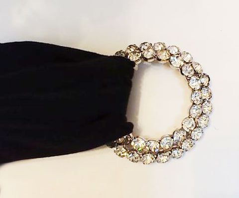 GLAMOROUS VINTAGE '60s / '70s DOUBLE ROW SPARKLING RHINESTONE CIRCLE BELT SASH BUCKLE DECORATION - STUNNING