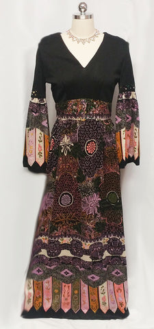 VINTAGE '60s / '70s RICH HIPPIE VELVETY DRESS ADORNED WITH SPARKLING PRONG-SET RHINESTONES AND METAL ZIPPER