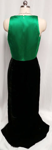 VINTAGE RIMINI EMERALD SATIN & BLACK VELVET EVENING GOWN - GORGEOUS COLOR COMBINATION!