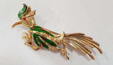 VINTAGE ROAD RUNNER GOLD TONE PIN / BROOCH