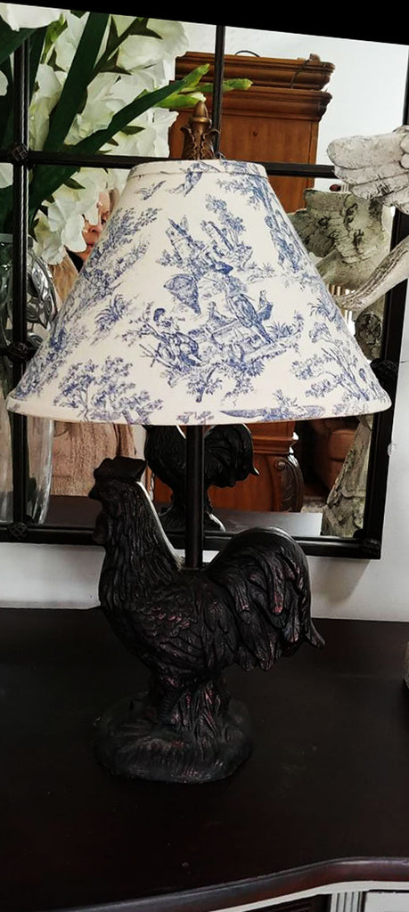 SOLD - LARGE ROOSTER TABLE LAMP WITH BLUE & WHITE TOILE SHADE