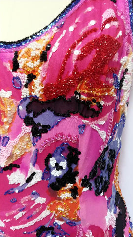 BREATHTAKING VINTAGE SILK CREPE BEADED, SEQUIN & PEARLS COCKTAIL DRESS IN ROSE, PERIWINKLE & BLACK WITH A FABULOUS LOW BACK