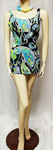 VINTAGE EARLY '60s ROSE MARIE REID PUCCI COLORS OF TURQUOISE, LIME & PURPLE SWIMSUIT