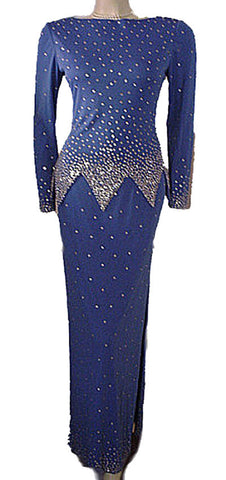"GORGEOUS '70s / 80 s ROSE TAFT COUTURE FASHIONS RHINESTONE ENCRUSTED EVENING GOWN IN ""NIGHTS IN PARIS BLUE"""