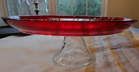 RUBY SECTIONED CAKE PLATE / CANAPE APPETIZER RELISH PLATE - PERFECT FOR THE HOLIDAYS OR A FANCY TEA!