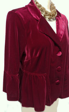 VINTAGE VELVETY PEPLUM JACKET WITH CIRCULAR FLOUNCE SLEEVES IN RUBY - PERFECT OVER EVENING GOWNS, COCKTAIL DRESSES OR WITH JEANS