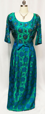 VINTAGE 50s / 60s NAT KAPLAN RUTH McCULLOCH & HUBBARD WOODS EMERALD GREEN SEQUIN & BEADED EVENING GOWN WITH METAL ZIPPER