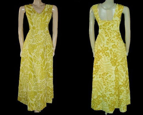 VINTAGE RUTH CLARAGE HAND PRINTED ORIGINAL LEAF DESIGN DRESS FROM JAMAICA