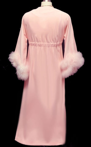 VINTAGE SAKS FIFTH AVENUE VELOUR DRESSING GOWN ROBE ADORNED WITH FLUFFY PINK MARABOU IN CHERUB PINK - WOULD MAKE A WONDERFUL CHRISTMAS OR BIRTHDAY GIFT!